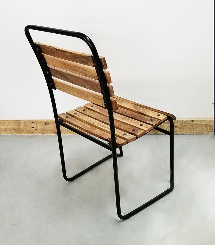 Chaise En Acier Assise Et Dossier Latte De Bois Manguier