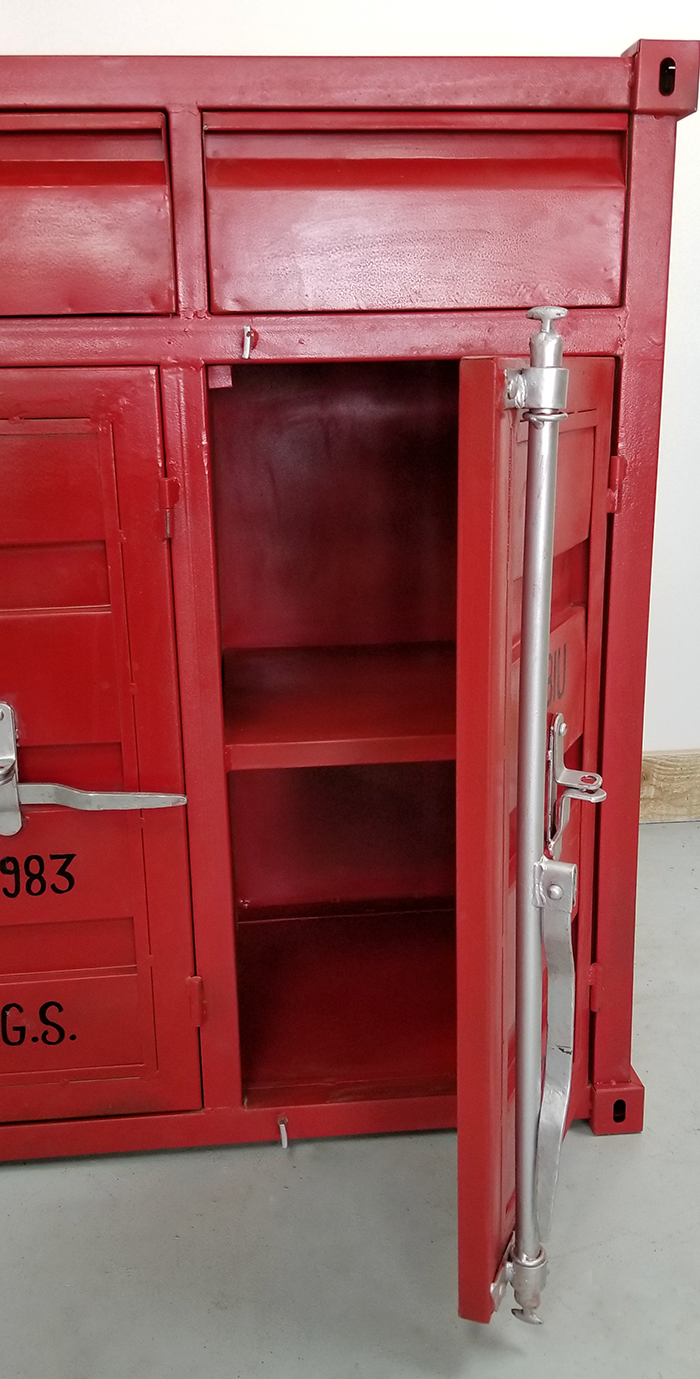 Red Container Style Metal Chest # Buffet Metal Rouge
