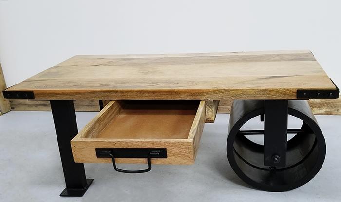Wheelbarrow Industrial Mango Coffee Table - Wheelbarrow coffee table