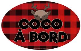 Autocollant pour voiture - Coco à bord (carreaux rouges)