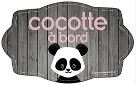 Autocollant pour voiture - Cocotte à bord (panda)