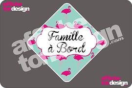 Autocollant de voiture - Famille à bord - Flamant - Affiche ton design