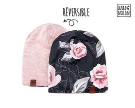 Beanie - Jules et Nolan - Fleurs roses