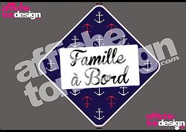 Autocollant de voiture - Famille à Bord - Ancres - Affiche ton design
