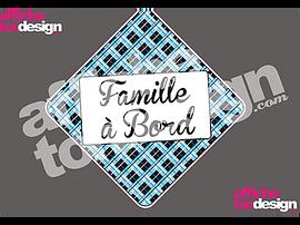 Autocollant de voiture - Famille à Bord - MH Bleu - Affiche ton design