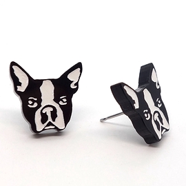 Boucles d'oreilles Lilipop Boston terrier