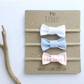 Trio de bandeau - Boucles en tissus - Blanc/bleu/rayé rose