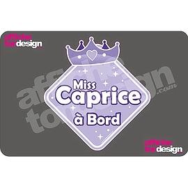 Autocollant de voiture - Miss Caprice à Bord - Princesse mauve- Affiche ton design