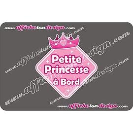 Autocollant de voiture - Petite Princesse à Bord - Princesse rose - Affiche ton design