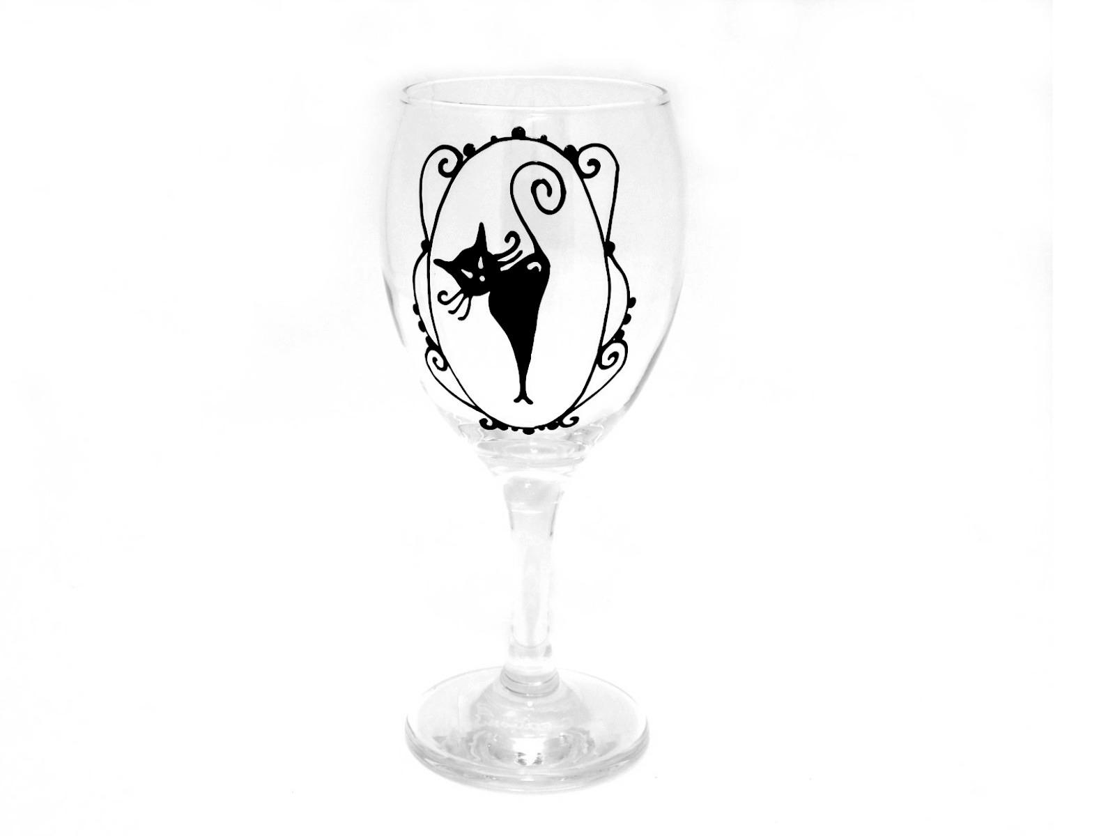 Black Cat Wine Glass Home